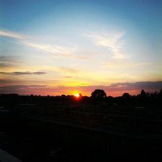 Sunset #sunset #sun #day #night #evening #avond #abend #zon #black #zwart #blue #blauw #forrest #woods #bos #beautiful #amazing #clear #helder #netherlands #nederland #view #uitzicht