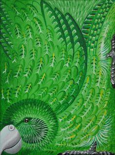 "Kakapo 9""x12"" Acrylic on canvas"