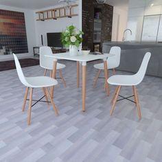 Salle  manger blanche table rectangulaire 4 chaises sans accoudoirs