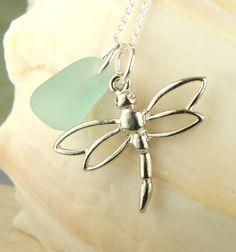 Genuine Aqua Sea Glass Necklace With Dragonfly by BoardwalkBaubles, $24.00
