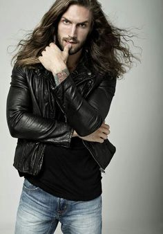 Long hair male model.