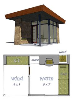 House Plan 67579 | Total Living Area: 96 Sq Ft With 1 Bedroom. A Modern  Shelter To Be Alone And Think, Read, Sketch Or Catch Up On Much Needed  Sleep.