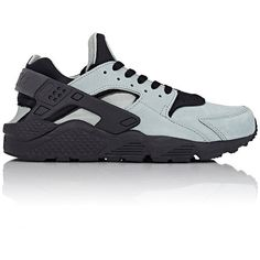 Nike Air Huarache Run Premium Sneakers ($120) ❤ liked on Polyvore featuring men's fashion, men's shoes, men's sneakers, grey, low top, nike, nike mens shoes, mens grey shoes and nike mens sneakers