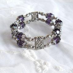 purple bracelet, purple beaded bracelet, double strand bracelet, purple jewelry, beaded jewelry, purple