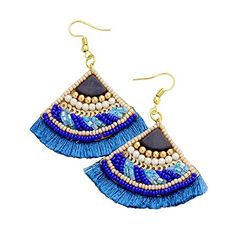 Earrings Fan Shape Blue Color Velvet Back Fringe Beads Stone Gold Tone Beaded Tassel Earrings, Bar Earrings, Girls Earrings, Statement Earrings, Gypsy Jewelry, Jewelry For Her, Jewelry Gifts, Fashion Jewelry Stores, Sparkly Jewelry