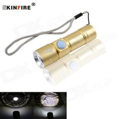 KINFIRE Mini 800mAh Rechargeable 380lm 3-mode Cool White XP-E LED Dimmable Flashlight - Yellow. MINI flashlight 5V usb interface directly rechargeable internal battery 800mAh, telescopic focusing, headlight range: 40 ~ 80m; Working time: 2 ~ 3 hours.. Tags: #Lights #Lighting #Flashlights #LED #Flashlights #Other #Batteries #Flashlights