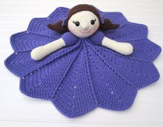 Crochet Doll with Purple Dress Lovey Security by SugarandSpiceKate
