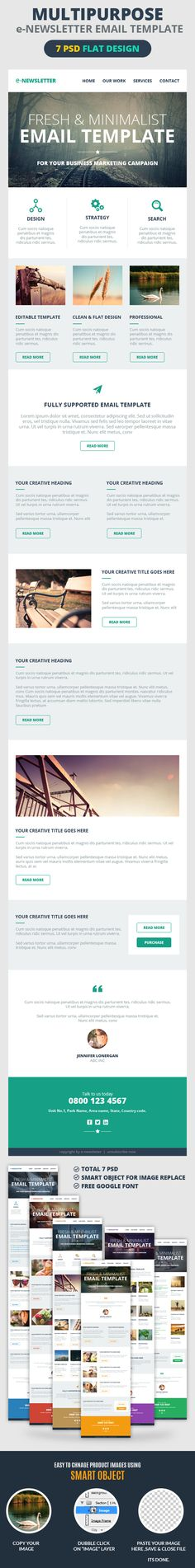 A set of 7 psds for Flat designed Email Templates which can be use for any kind of business like Travel, Corporate, E-commerce, Retail, Photographer, Artist, Designer & Freelancer. Design is clean and professional. Layers are well organized, you can easily customize its design & color as per your need.  FEATURES:  7 Different layout options Clean & Professional Design Multipurpose Use Free Google Font