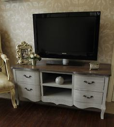 TV cabinet grey shabby cupboard chic Television stand lounge dvd lounge living
