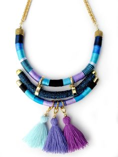 Statement necklace wrapped rope necklace Colorful Blue tassel necklace accesories