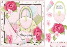 A lovely card for any girl with all the pretty things Bags, Shoes, Make-up, has one blank greeting tag
