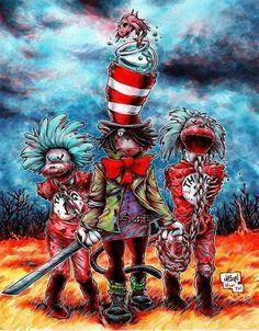 Buy the Dr. Seuss Walking Dead t-shirt that features a Michonne inspired Cat in the Hat leading a jawless Thing 1 and Thing 2 by chains. Grim Fairy Tales, Fantasy Comics, Yesterday And Today, Cool Cartoons, New Print, Zombie Apocalypse, Disney Art, The Walking Dead, Alter
