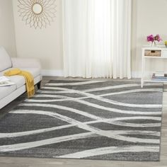 """Soft Cozy Contemporary Stripe L. Gray White 7'10"""" x 10' Indoor Shag Area Rug   Overstock.com Shopping - The Best Deals on 7x9 - 10x14 Rugs"""