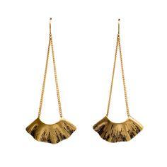 Gold Long Fan Earrings by CarrieBilbo on Etsy