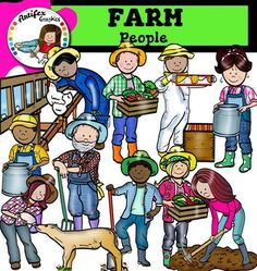Farm People clip art  This set is available to purchase as part of the   The Farm super bundleFarm People features 20 items: 10 graphics in color. 10 graphics in black & white.This set contains all of the images shown:Beekeeper, farmer (boy) carrying fresh vegetables crate, farmer (boy) holding big milk container, farmer (girl) carrying fresh vegetables crate, farmer (girl) holding big milk container, farmer with a shovel, farmer with hens, lady farmer, farmer, $6.00