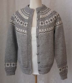 Reserved for Norwegian Fair Isle Wool Cardigan Sweater - Hand Knit Husfliden - Scandinavian Nordic - Gray Black White - Ski Sweater Ski Sweater, Wool Cardigan, Nordic Design, A 17, Hand Knitting, One Piece, Black And White, Tank Tops, Grey