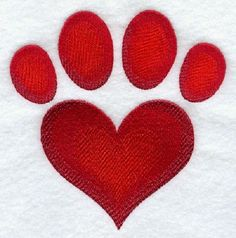 2 Heart shaped dog cat Paw prints embroidered fabric quilt squares RQQ™