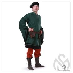 This medieval costume of the 14th century consists of:    - linen shirt with a button on the neck and contrastedging ofsleeves   - linen cotardie with expanding sleeves and сontrastfringing of sleeves and bottom edge