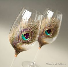 Peacock Wine Glasses Hand Painted  Wedding by NevenaArtGlass