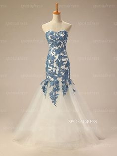 Blue lace dress cheap prom dress long prom dress by sposadress
