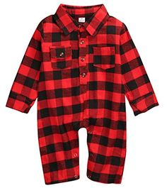Baby Boys Girls Red Plaid Half Sleeve Romper Polo Button Collar Long Jumpsuit Outfits Clothes 39M ** Check out this great product.Note:It is affiliate link to Amazon. #tagblender