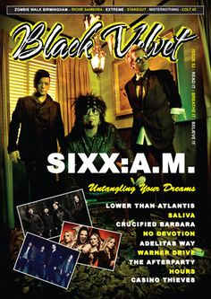 Black Velvet Issue 82 includes:  Interviews with Sixx:A.M., Lower Than Atlantis, Saliva, Adelitas Way, Crucified Barbara, No Devotion, Warner Drive, The Afterparty, Hours and Casino Thieves.  Concert reviews of Richie Sambora, Extreme, Lower Than Atlantis, StakeOut and MisterNothing.  2 page photo feature/collage on Birmingham Zombie Walk.  Column by Adam Lewis of Colt 45.  and more.   Visit www.blackvelvetmagazine.com to read.