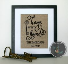Personalized Burlap Print as Unique New Home Gift Our First Home