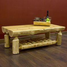 Cedar Half log coffee table.  USA made. Cabin decor