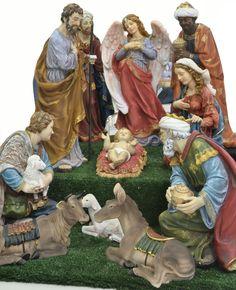 Presépio de Natal  e os 3 Magos Christmas Centerpieces, Christmas Decorations, Angel Ornaments, Wood Carving, Nativity, Scene, Faith, Ceramics, Statue