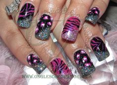 Feeling catty  Black and Pink Shellac on Acrylic