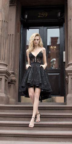 inbal dror 2016 wedding dress with strapless v neck black color short high low lace wedding dress style 24 mv