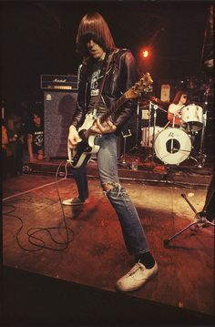 Johnny Ramone during the Rocket to Russia Tour, Photo by Roberta Bayley, 1977