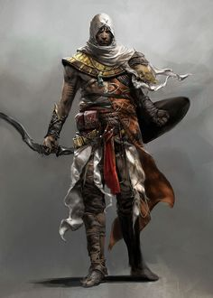View an image titled 'Bayek Concept Art' in our Assassin's Creed Origins art gallery featuring official character designs, concept art, and promo pictures. Assassins Creed Game, Assassins Creed Origins, Fantasy Armor, Fantasy Weapons, Game Character Design, Character Art, Armor Concept, Concept Art, Style Badass