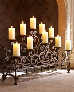 Little more ornate candelabra for an unused fireplace.