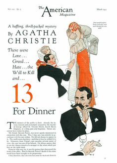 Thirteen at Dinner by Agatha Christie.  Weldon Trench illustrated the first appearance of the novel in The American Magazine (March 1933)