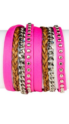 Studded Double Wrap Bracelet - Neon Pink by Sara Designs