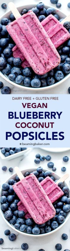Vegan Blueberry Coconut Popsicles (V+GF): a 3 ingredient recipe for creamy popsicles packed with blueberries and coconut flavor. #Vegan #GlutenFree #DairyFree | BeamingBaker.com
