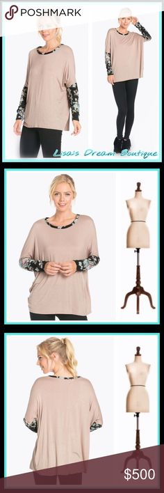 ✨COMING SOON✨Floral Print Sleeve Knit Top✨ 🆕Sweet Taupe Long Sleeved Top with floral print on sleeves and around neckline..super comfy to wear any day with your fav leggings or jeans..love the sleeve detail giving your outfit a little flair💕96% Rayon 4% Spandex💕Made in USA🇺🇸✨Like this listing to be notified of arrival✨🔹NO TRADES🔹PRICE WILL BE FIRM UNLESS BUNDLED🔹💟20% OFF BUNDLES💟 LDB Tops Tees - Long Sleeve