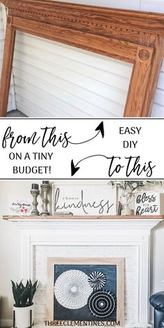 DIY Faux Fireplace, Easy And Budget-Friendly - Three Clementines - Easy DIY faux fireplace, have a mantel to decorate this Christmas! Faux brick panel with chalkboard - Shabby Chic Mode, Style Shabby Chic, Shabby Chic Decor, Faux Brick Panels, Brick Paneling, Faux Foyer, Diy Simple, Easy Diy, Faux Fireplace Mantels