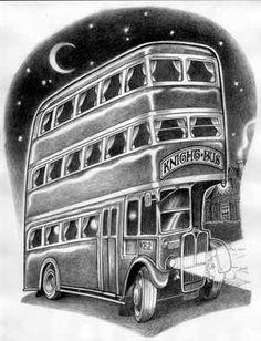 Concept art of the Knight Bus by artist David Edward Bryd