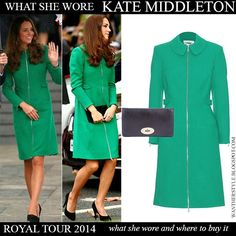 Kate Middleton Duchess of Cambridge in green zip Erdem Allie coat with black pumps and black clutch