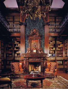 THIS is the room I am talking about when I say libraries are more than books. THIS is the ideal place to read, enjoy a lovely cup (or three) of tea, share special confidences with a friend or simply contemplate the meaning of life while enjoying these beautiful surroundings. (Fireplace Surround Designs)
