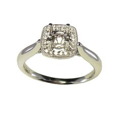 Cushion Halo Semi-Engagement Ring Mounting with .20cttw in Diamonds in 14kwg | Diamond Rings from Beaudet Jewelry Inc. | Eugene, OR