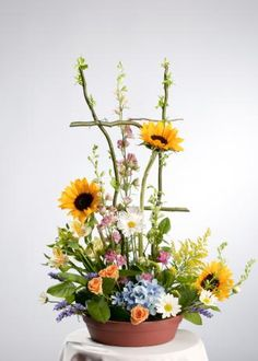 Beautiful trellis garden bouquet with sunflowers and more.