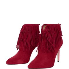 Fringe V-Shape Zipper Ankle Boots ($30) ❤ liked on Polyvore featuring shoes, boots, ankle booties, zip ankle boots, red ankle booties, red booties, red fringe boots and zippered ankle booties