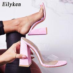 14158ae274 Eilyken PVC Sexy Transparent Pink Serpentine Ladies Slippers Summer Fashion  Party Heels Shoes Gladiator Slides Sandals
