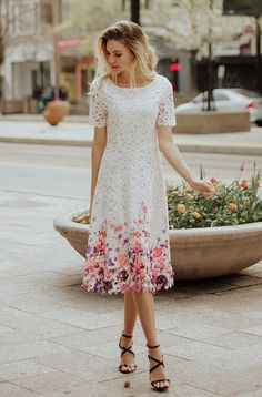 Crocheted lace and painted flower hem edge and lace sleeves with cap length insert lining into the sleeve for a modest look. Flattering fit and flare style looks fabulous on all body types. This is a beautiful dress for bridesmaids, church, vacations, and Modest Dresses Casual, Lace Dresses, Modest Outfits, Pretty Dresses, Beautiful Dresses, Short Sleeve Dresses, Floral Dresses, Modest White Dress, Modest Clothing