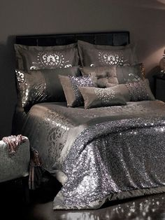 The contemporary home style you've been waiting to have. Silver Bedroom, Glam Bedroom, Bedroom Bed, Master Bedroom, Bedroom Decor, Silver Bedding, Bedroom Ideas, Dream Rooms, Luxurious Bedrooms