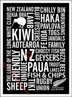 LOVE NEW ZEALAND Printable Home Wall Decor Art Print Kiwi All Blacks Maori NZ | Colour My Room | madeit.com.au