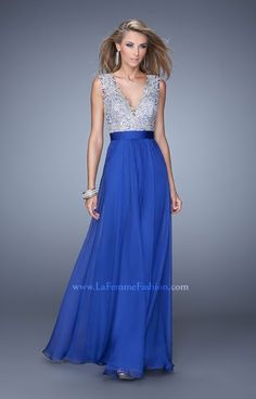 La Femme 21354 is a gorgeous chiffon gown featuring a V neckline with a lace upper bodice and sexy key hole out in the back. The A line skirt is elegant and ideal for prom, a winter formal or military ball.